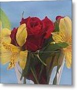 Rose And Peruvian Lilies Metal Print