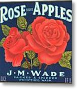 Rose Brad Apples Crate Label Metal Print