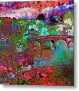 Rose Bridge Landscape Metal Print