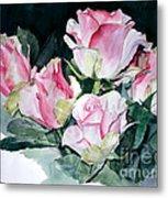 Watercolor Of A Pink Rose Bouquet Celebrating Ezio Pinza Metal Print