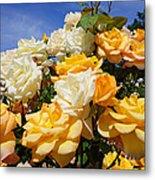 Rose Garden Art Prints Yellow Orange Rose Flowers Metal Print