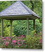 Rose Garden Gazebo Metal Print