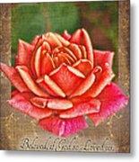 Rose Greeting Card With Verse Metal Print