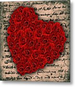 Rose Heart And Letter Metal Print