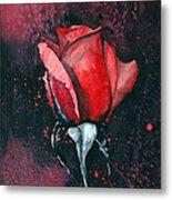 Rose In Flames Metal Print