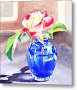 Rose In The Blue Vase  Metal Print