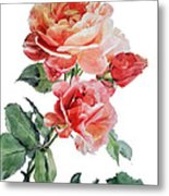 Watercolor Of Red Roses On A Stem I Call Rose Maurice Corens Metal Print