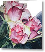 Watercolor Of A Bouquet Of Pink Roses I Call Rose Michelangelo Metal Print
