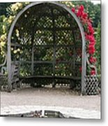 Rose Pavilion At Chateau Villandry Metal Print