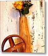 Rose Sphere And Mango Wood Vase Metal Print