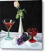 Rose Wine And Fruit Metal Print