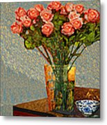 Roses And A Chinese Bowl Metal Print
