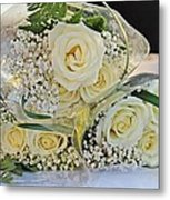 Roses And Baby Breath Metal Print