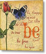 Roses And Butterflies 1 Metal Print