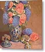 Roses And Daisies I Metal Print