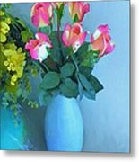 Roses And Flowers In A Vase Metal Print