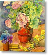 Roses And Pansies Metal Print by Julia Rowntree