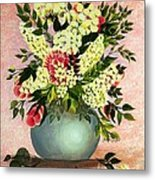 Roses And White Lilacs Metal Print