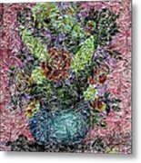 Roses And White Lilacs Digital Painting Metal Print