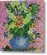 Roses And White Lilacs Lacy Bouquet Digital Painting Metal Print