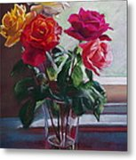 Roses By The Window Metal Print
