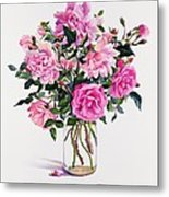 Roses In A Glass Jar  Metal Print by Christopher Ryland