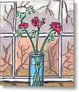 Roses In A Glass Vase Metal Print
