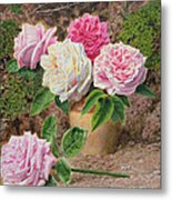 Roses In An Earthenware Vase By A Mossy Metal Print