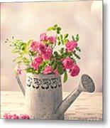 Roses In Watering Can Metal Print
