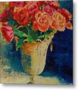 Roses In Wire Vase Metal Print