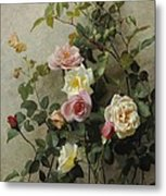 Roses On A Wall Metal Print