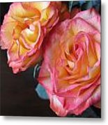 Roses On Dark Background Metal Print