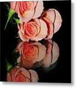 Roses On Glass Metal Print