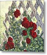 Roses On Lattice Metal Print