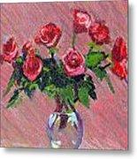 Roses On Pink Metal Print