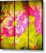 Roses On Wood Metal Print