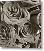 Roses On Your Wall Sepia Metal Print