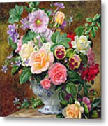 Roses Pansies And Other Flowers In A Vase Metal Print by Albert Williams