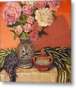Roses Peonies And Grapes Metal Print