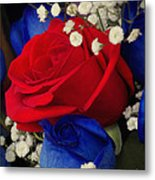 Roses - Red White And Blue Metal Print