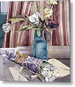 Roses Tulips And Striped Curtains Metal Print by Julia Rowntree