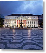 Rossio Square At Night In Lisbon Metal Print