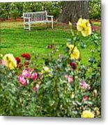 Rosy View - Beautiful Rose Garden Of The Huntington Library. Metal Print