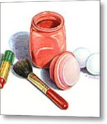 Rouge And Lipstick Still Life Metal Print