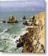 Rough Californian Shore Near San Francisco Ca Cliff House 2 Metal Print