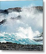 Rough Waves Offshore Whale Point Metal Print