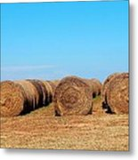 Round Bales Of Hay Metal Print