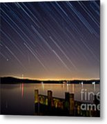 Round Bay Startrails And A Meteor Shower Metal Print by Benjamin Reed
