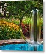 Round Water Sculpture Prescott Park Garden  Metal Print