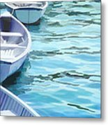 Rounded Row Of Rowboats Metal Print
